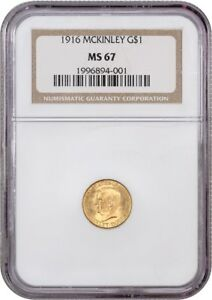 1916 MCKINLEY G$1 NGC MS67   CLASSIC COMMEMORATIVE   GOLD COIN