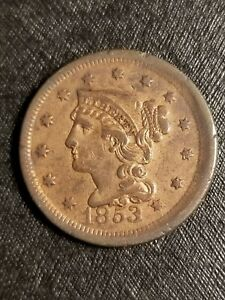 1853 BRAIDED HAIR LARGE CENT OFF CENTER W/MISPLACED REPUNCHED DATE