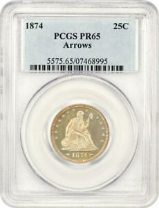 1874 25C PCGS PR 65  ARROWS   PROOF TYPE COIN   LIBERTY SEATED QUARTER