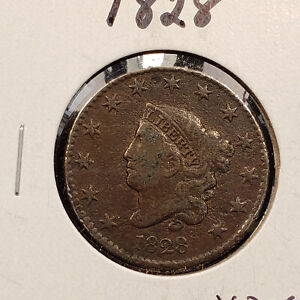 1828 1C CORONET HEAD LARGE CENT   MINT ERROR: 90 ROTATED DIE   MID GRADE   Y2384