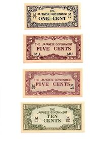 Click now to see the BUY IT NOW Price! SET OF FOUR MALAYA   JAPAN 1 5 5 & 10 CENTS ND 1942  JAPANESE OCCUPATION WW2