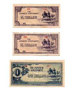 Click now to see the BUY IT NOW Price! SET OF 3 OCEANIA   JAPAN 1/2 1/2 & 1 SHILLING ND 1942  JAPANESE INVASION MONEY
