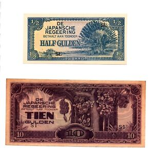 Click now to see the BUY IT NOW Price! SET OF TWO NETHERLANDS INDIES   JAPAN 1/2 & 10 GULDEN 1942 JAPANESE OCCUPATION