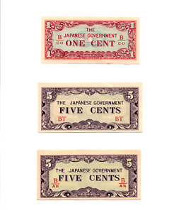 Click now to see the BUY IT NOW Price! SET OF THREE BURMA   JAPAN 1 5 & 5 CENTS ND 1942  JAPANESE INVASION MONEY JIM