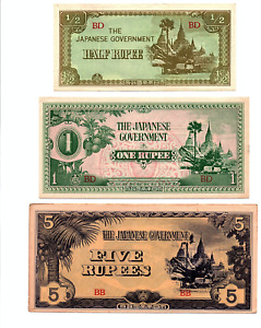 Click now to see the BUY IT NOW Price! SET OF THREE BURMA 1/2 RUPEE 1 RUPEE AND 5 RUPEES ND 1942  JAPANESE OCCUPATION