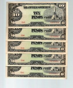 Click now to see the BUY IT NOW Price! SET OF 5 SEQUENTIAL PHILIPPINES   JAPAN 10 PESOS ND 1943  JAPANESE OCCUPATION