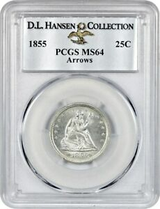 Click now to see the BUY IT NOW Price! 1855 25C PCGS MS64  ARROWS  EX: D.L. HANSEN   PRETTY    LIBERTY SEATED QUARTER
