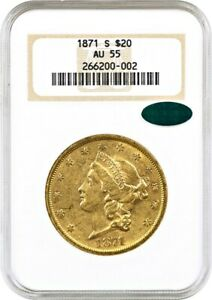 1871 S $20 NGC/CAC AU55   LIBERTY DOUBLE EAGLE   GOLD COIN   OLD NGC HOLDER