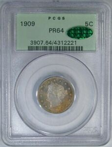 1909 5C PCGS / CAC PF64 OLD GREEN HOLDER LIBERTY   HIGH END ORIGINAL PROOF
