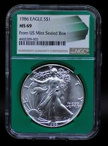 1986 NGC MS69 SILVER EAGLE FROM US MINT SEALED BOX [011DUD]