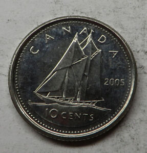 CANADA 10 CENTS 2005P NICKEL PLATED STEEL KM492 UNC
