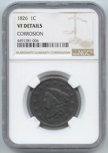 1826 CORONET HEAD LARGE CENT NGC VF DETAILS