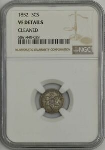 1852 THREE CENT SILVER 3CS VF DETAILS NGC 943569 29