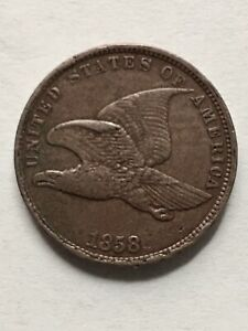 1858 FLYING EAGLE CENT XF