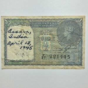 Click now to see the BUY IT NOW Price! 1940 INDIA  BRITISH COLONY  RUPEE HAND DATED 4 13 1945 AND HAND INSCRIBED P 25