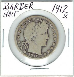 1912 S 50C BARBER HALF DOLLAR TINY RIM INDENT LOWER LEFT