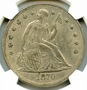 1870 CC SEATED SILVER DOLLAR NGC AU 53 STRONG STRIKE LIGHT LILAC TONING