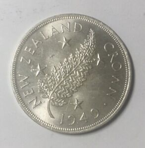 Click now to see the BUY IT NOW Price! NEW ZEALAND 1949 GEORGE VI SILVER  CROWN 5 SHILLING BLAST LUSTRE  B