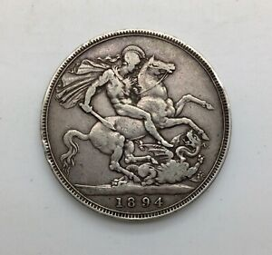 Click now to see the BUY IT NOW Price! 1894 LVIII  VICTORIA OLD HEAD SILVER CROWN DECENT COIN NICE EVEN GREY COLOUR