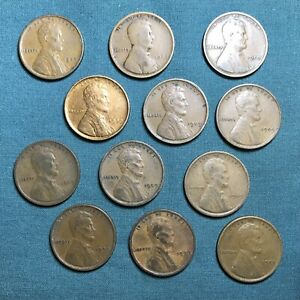 1909 VDB LINCOLN WHEAT 1C ONE CENT UNITED STATES LOT OF 12 COINS CIRCULATED