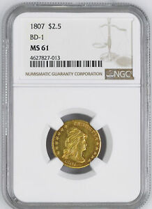 Click now to see the BUY IT NOW Price! 1807 DRAPED BUST $2.5 NGC MS 61