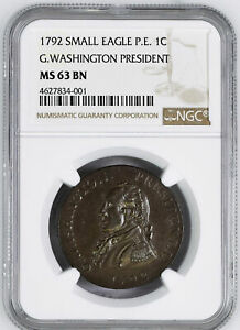 Click now to see the BUY IT NOW Price! 1792 WASH GETZ SM EAGLE CENT NGC MS 63 BN
