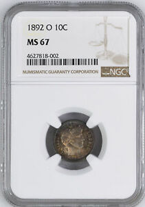 Click now to see the BUY IT NOW Price! 1892 O BARBER 10C NGC MS 67