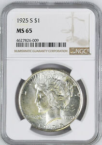 Click now to see the BUY IT NOW Price! 1925 S PEACE $1 NGC MS 65