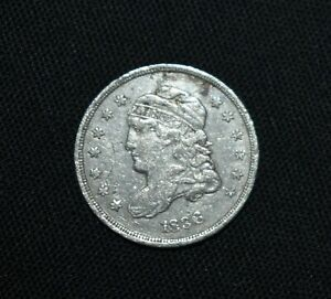 E13. AN 1836 CAPPED BUST HALF DIME / CLEANED / IN AS SHOWN CONDITION