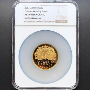 Click now to see the BUY IT NOW Price! UK 2017 GREAT BRITAIN PLATINUM WEDDING ANNIV. 10 5OZ GOLD PROOF COIN NGC PF70UC
