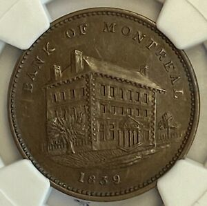 Click now to see the BUY IT NOW Price! CANADA BANK OF MONTREAL SIDE VIEW HALF PENNY 1839 LC10B1    NGC MS 62 BN