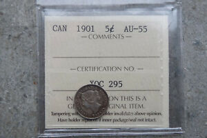 1901 CANADA SILVER FIVE 5 CENTS     ICCS AU 55