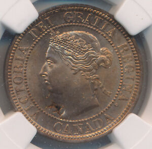 CANADA LARGE CENT 1887   NGC MINT ERROR MS 65 RD