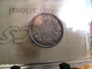 1908 CANADA 5 CENTS SILVER COIN ICCS AU 50 SMALL 8