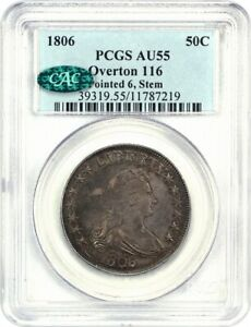 1806 50C PCGS/CAC AU55  POINTED 6 STEMS  GREAT TYPE COIN   BUST HALF DOLLAR