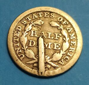 UNITED STATES   AMERICAN SILVER HALF DIME SEATED LIBERTY 1853 ERROR/METAL DEFECT