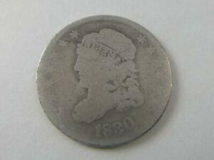 US 1830 CAPPED BUST SILVER 5 CENT HALF DIME COIN