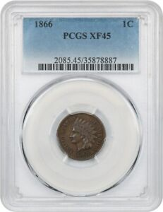 1866 1C PCGS XF45    DATE   INDIAN CENT    DATE