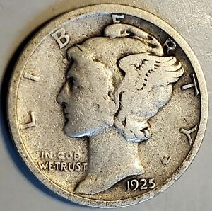 1925 S MERCURY DIME IN VG FINE CONDITION WITH NICE SURFACES AND OLD NATURAL TONE