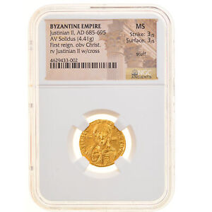 Click now to see the BUY IT NOW Price! [905727] MNZE JUSTINIAN II SOLIDUS 692 695 CONSTANTINOPLE GRADED NGC