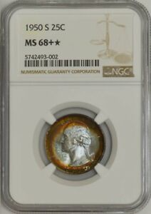 Click now to see the BUY IT NOW Price! 1950 S WASHINGTON QUARTER 25C MS68   COLOR NGC 942156 84