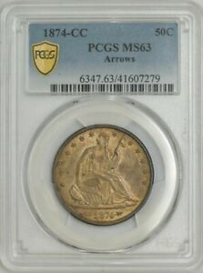 Click now to see the BUY IT NOW Price! 1874 CC SEATED LIBERTY HALF 50C WITH ARROWS MS63 PCGS SECURE 943781 3