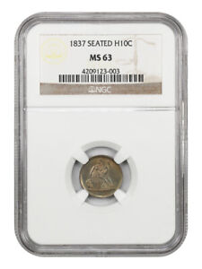 1837 H10C NGC MS63  NO STARS LARGE DATE  ONE YEAR TYPE COIN   SEATED HALF DIME