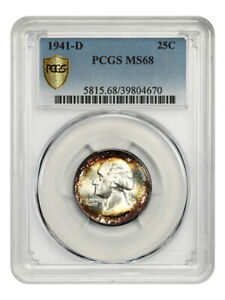 Click now to see the BUY IT NOW Price! 1941 D 25C PCGS MS68   TIED FOR FINEST KNOWN    WASHINGTON QUARTER