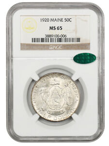 1920 MAINE 50C NGC/CAC MS65   SILVER CLASSIC COMMEMORATIVE