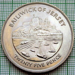 JERSEY 1977 25 PENCE 25TH ANNIVERSARY OF ACCESSION OF QUEEN ELIZABETH II UNC