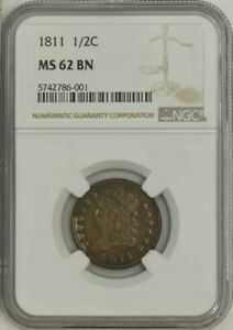 Click now to see the BUY IT NOW Price! 1811 HALF CENT 1/2C MS62 BN NGC 941674 1   POP 1 NONE FINER @ NGC