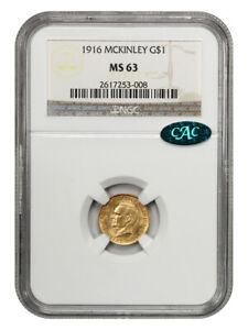 1916 MCKINLEY G$1 NGC/CAC MS63   CLASSIC COMMEMORATIVE   GOLD COIN