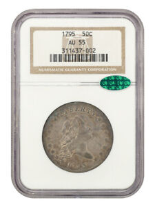 1795 50C NGC/CAC AU55  2 LEAVES  DESIRABLE 2 YEAR TYPE COIN   BUST HALF DOLLAR