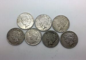 Click now to see the BUY IT NOW Price! 1922  1923 1925  PEACE SILVER DOLLAR 7 MIXED GRADE PEACE DOLLARS LOT